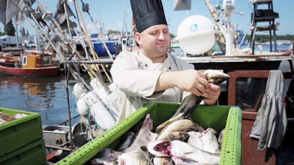 szef kuchni wybiera ryby do hotelowej restauracji