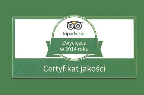 nagroda dla hotelu - tripadvisor 2014