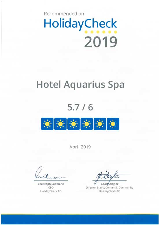 certyfikat jakości dla Hotelu AQAURIUS SPA