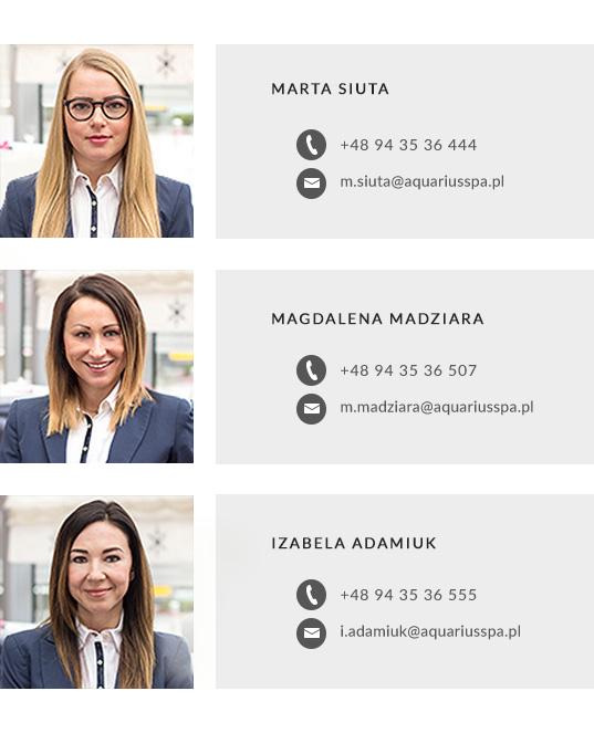 kontakt z działem sprzedaży hotelu AQUARIUS SPA